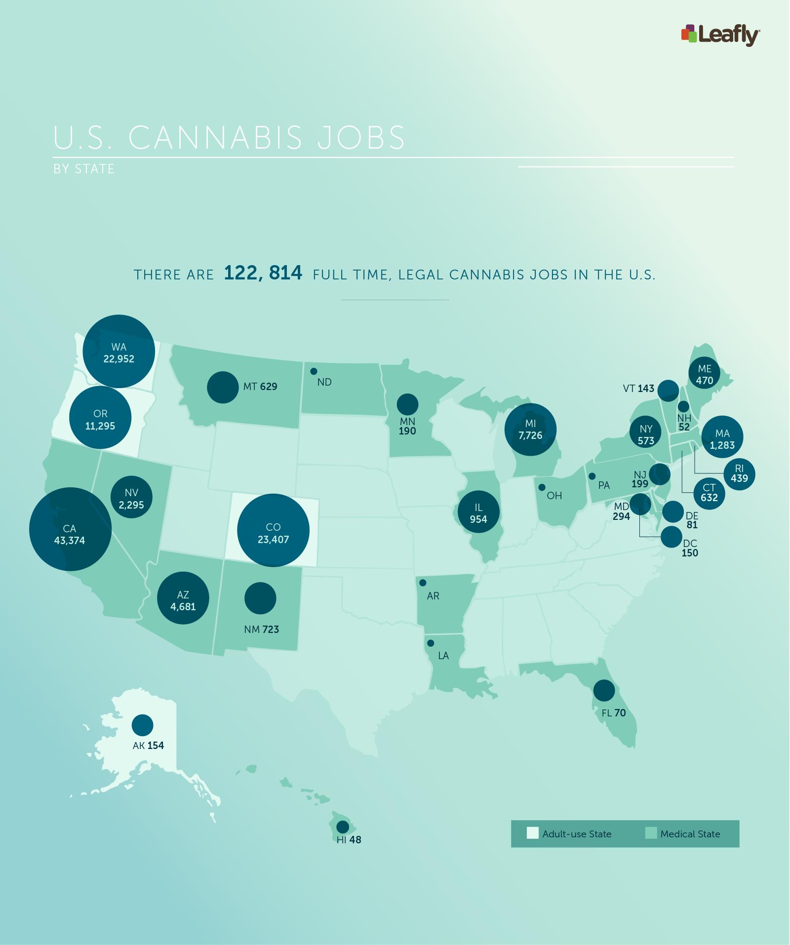 Mappa america posti lavoro cannabis